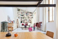 Magnificent Rectangular Studio Design with Modern Interior: Imposing Transformatin Of A Studio Into A Loft Living Room Interior In White Wit...