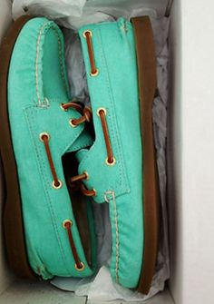 turquoise shoes.