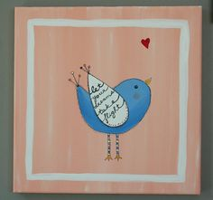 BIRD Painting  NURSERY ART.  Christmas or Baby shower gift. Children's room décor. Spring. peach blue QUOTES