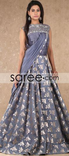 Grey Silk Loop Sided Designer Gown