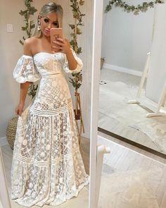 Boho wedding maxi dress crochet deep v plunge mermaid slit gipsy lace hippie wedding goddess Pitbull Timber Dress Cute Prom Dresses, Formal Dresses, Boho Fashion, Fashion Dresses, Dress Skirt, Dress Up, Estilo Boho, Dress To Impress, Wedding Gowns