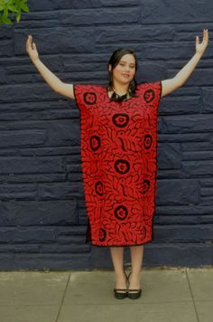 Vibrant Mexican Hand Embroidered Dress / Huipil / Tunic from Jalapa de Diaz