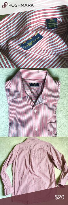 Long Sleeve Button Down by Club Room Size 16 Long Sleeve Button Down by Club Room Size 16 34/35, red and white stripped, excellent condition, no stains, one left breast pocket. Club Room Shirts Dress Shirts