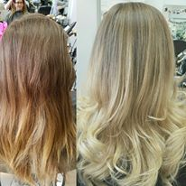 stunning ash blonde ombre, finished with a smooth bouncy blow dry for volume and movement.
