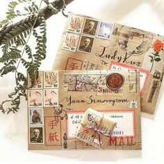 Pin by Blossom on Bullet journal Mail Art Envelopes, Snail Mail Pen Pals, Pen Pal Letters, Decorated Envelopes, Envelope Art, Happy Mail, Planner, Letter Writing, Bookbinding