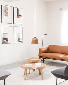"""2,233 Likes, 11 Comments - Muuto - New Nordic (@muutodesign) on Instagram: """"OUTLINE sofa in cognac leather combined with a muted color palette. AROUND table in oak and GRAIN…"""""""