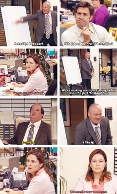the office  This was SO SO funny!  Jim and Pam are both realizing that they need a new manager and they need them immediately!