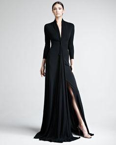 Chado Ralph Rucci Black Matte Jersey Gown