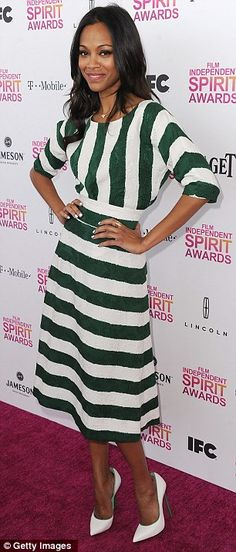 Zoe Saldana, second time I've found her in something modest and she STILL looks sexy.  It can be done ladies!!