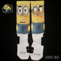 Minions Custom Nike Elite Crew Socks Despicable Me by IconicCases, $24.99. I want these, lol