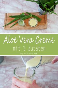 Schnelle Aloe Vera Creme selber machen für trockene Haut Would you like to make your aloe vera cream yourself? No problem! With only 4 ingredients you have finished your homemade cream with aloe vera. This DIY natural cosmetic moisturizes your skin. Crème Aloe Vera, Aloa Vera, Aloe Vera Creme, Aloe Vera Skin Care, Aloe Cream, Diy Aloe Vera Gel, Homemade Skin Care, Diy Skin Care, Healthy Skin Care