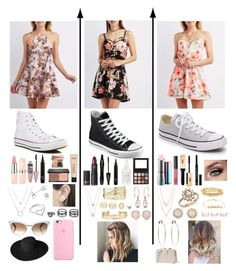 """""""spring floral dress collection"""" by lilygriffiths44 ❤ liked on Polyvore featuring Charlotte Russe, Converse, Maybelline, blacklUp, Bobbi Brown Cosmetics, Otis Jaxon, Jordan Askill, Amanda Rose Collection, LULUS and Gucci"""