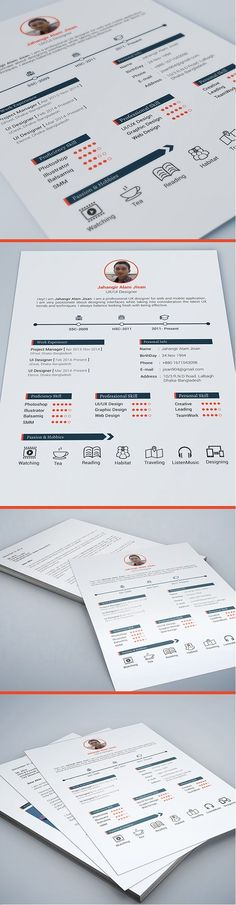 This is a FREE resume template that is intended for your personal use. Please do not sell or distribute it.The file format is PSD and it uses Roboto. Open sans and Lato will work nicely as an alternative font choice. Resume Template Examples, Resume Template Free, Free Resume, Resume Tips, Portfolio Design, Portfolio Resume, Cv Original, Cv Curriculum Vitae, Cv Inspiration