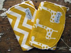 Baby Burp Cloths OR Baby Bibs - Yellow Chevron & Giraffes - Set of 2 - Gender Neutral by theposhpeaboutique on Etsy https://www.etsy.com/listing/98192180/baby-burp-cloths-or-baby-bibs-yellow