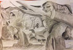 Dibujo realizado para crear profundidad y perspectiva con objetos, en este caso animales que den sensación de profundidad