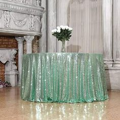 Home inches) Round Gold Sequin Tablecloth Wedding Party Event Banquet Sequin Tablecloth, Sequin Fabric, Banquet, Mint Green, Fall Wedding, Glass Vase, Sequins, Tapestry, Party
