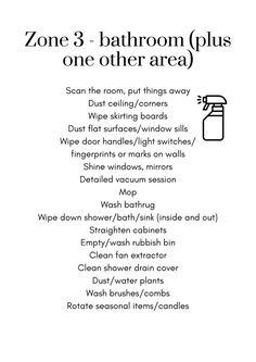 Flylady Zone Ideas (PRINTABLES)   DianeDenmark.com Fly Lady Cleaning, Zone Cleaning, Cleaning Caddy, House Cleaning Checklist, Household Cleaning Tips, Diy Cleaning Products, Cleaning Hacks, Cleaning Lists, Clean Shower Drain