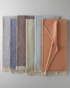 SFERRA Brushed Cotton Herringbone-Weave Throw $79