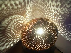Carved white coconut lamp from ArtAliA
