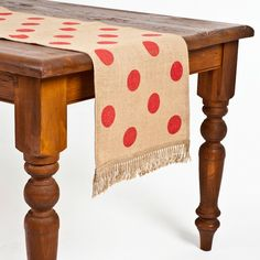 ecoaccents Red Dot Burlap Table Runner | Pure Home (Valentine Day decor inspiration)