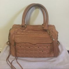 """✨Rebecca Minkoff Top Handles Quited Stachel barely used in good condition! Soft leather, removable 32"""" long strap for cross body. 12.5"""" L x 9"""" H x 5"""" D. Pockets: 3 interior slip, 1 interior zip, 1 exterior zip. Rebecca Minkoff Bags Satchels"""