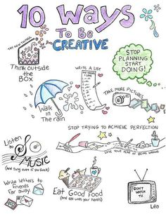 10 ways to be creative - I really like this, although I have never understood the walking in the rain fascination so that wouldn't be one of my ways!! Great idea to do a little brainstorm though to remind yourself of little things like this when you're feeling down.