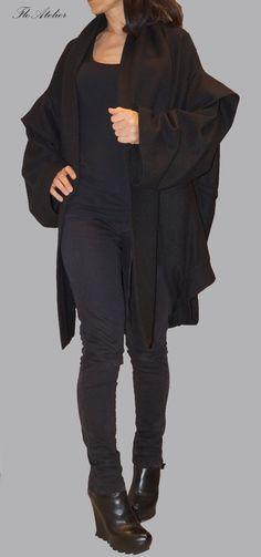Black Wool Coat/ Long Sleeves Coat/ Sleeveless Coat/Convertible Coat/Extravagant Asymmetrical Coat/Black Vest/Over sized Coat/F1186 by FloAtelier on Etsy https://www.etsy.com/uk/listing/193473331/black-wool-coat-long-sleeves-coat