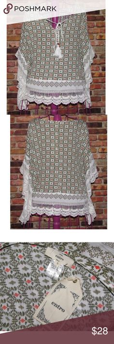 "NWT ENTRO Crochet Trim Printed Boho Batwing Top New with Tags Women's ""Entro"" Boho Style Blouse Top   Size: ( SMALL ) Chest measured flat: ( 20-1/2"" ) Length shoulder to hem: ( 25"" ) 100% Rayon Tassel Detail entro Tops Blouses"