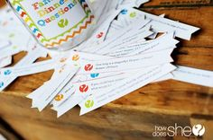FREE printable family dinner questions - over 180 get-to-know-you questions plus fun trivia. Great ice breaker game for camp Family Crafts, Family Activities, Crafts For Kids, Family Games, Paper Crafts, Diy Crafts, Love My Kids, Family Game Night, Marriage And Family