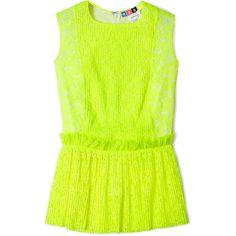 MSGM Fluoro Yellow Lace Sleeveless Peplum Top (3.500 RUB) ❤ liked on Polyvore featuring tops, shirts, blouses, tanks, green tank top, neon tank tops, peplum shirt, green shirt and neon shirts