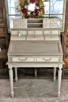 Rustique Restoration: French Gray and Cream Secretary Desk.  French Country, Vintage Furniture. DIY