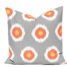 Throw Pillow Covers Gray and Orange Dots Fall Decor Orange Pillow... ($10) ❤ liked on Polyvore featuring home, home decor, throw pillows, home & living, home décor, silver, gray accent pillows, orange throw pillows, orange accent pillows and thanksgiving home decor