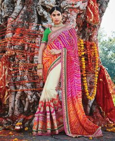 Buy Admirable Cream And Pink Party Wear Sarees online at  https://www.a1designerwear.com/admirable-cream-and-pink-party-wear-sarees  Price: $185.63 USD