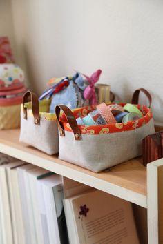How-To: Fabric Storage Bins with Handles #sewing #storage #organization #bins