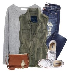 Grey sweatshirt, army green vest & chucks by steffiestaffie on Polyvore featuring polyvore, fashion, style, Zara, Converse, FOSSIL, American Eagle Outfitters and clothing