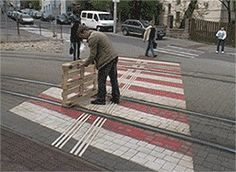 Shipping pallet on the tram tracks. Gif Bin is your daily source for funny gifs, reaction gifs and funny animated pictures!