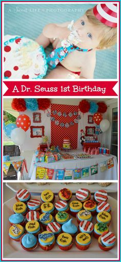 One Fish, Two Fish, Red Fish, Blue Fish - Dr. Seuss theme 1st birthday party. So cute!