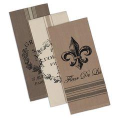 French Grain Sack Printed Dishtowels - Fleur de Lis, French Inspired Kitchen Textiles