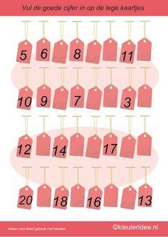 Vul de goede cijfers in op de lege kaartjes 2, kleuteridee.nl , rekenen met kleuters, free printable.
