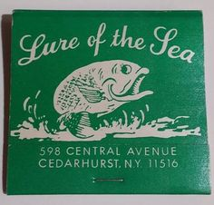 Lure Of The Sea Matchbook Restaurant Cedarhurst Long Island NY Central Ave 1980s #Reversestrikematchbook