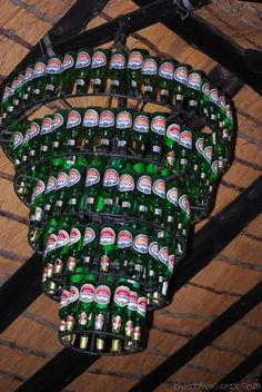 The Best Ambiance Lighting EVER! The Beer Chandelier.  This is at the Planet Boab in Botswana.Just think of the huge amount of work that went into this amazing piece of lighting- to the greater glory of beer!