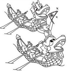Free coloring page: Dragon Boat Festival Scaring Spirits