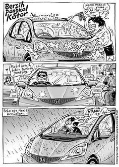 hujan oh hujan Ciri, Comic Strips, Slogan, Funny Pictures, Jokes, Animation, Cartoon, Humor, Comics