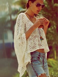 Boho lace top / free people