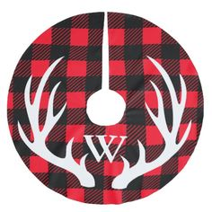 Personalized - Buffalo Plaid & White Deer Antlers Brushed Polyester Tree Skirt