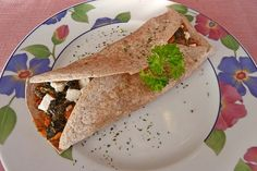 Tortilla mit Mangold-Putenbrustfilet-Füllung