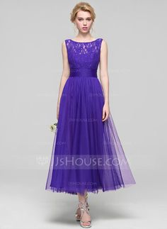 [US$ 109.99] A-Line/Princess Scoop Neck Ankle-Length Tulle Bridesmaid Dress With Ruffle (007090185)