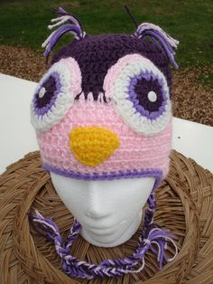 Owl Hat Crochet Earflap Beanie, sizes from children to adult. $23.00, via Etsy.
