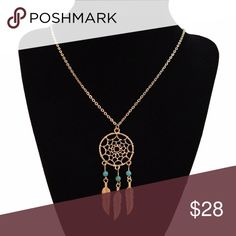 """Gold Dreamcatcher and Turquoise Feather Necklace Cute, casual, boho chic necklace, gold plated with turquoise beads and dainty dangling feather charms. Great as a layering piece or worn alone.  Approximately 15-16"""" drop length  ❌ Sorry, no trades. fairlygirly Jewelry Necklaces"""