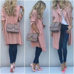 Pink trench coat outfit
